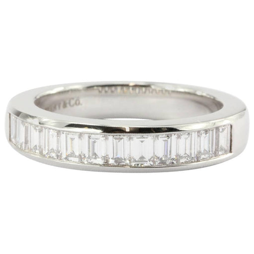 Tiffany & Co. Platinum Diamond Channel Set Half Band Ring Size 6