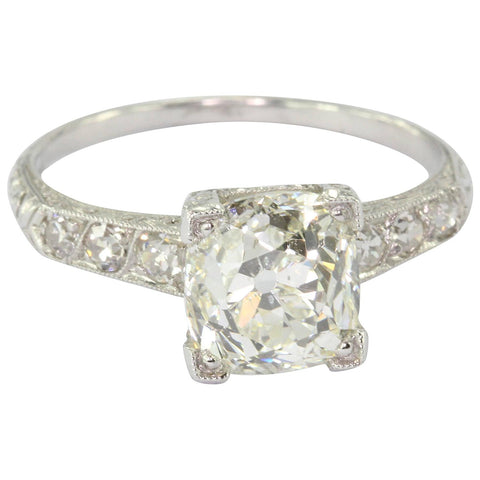 A 2.27 carat old mine platinum Art Deco diamond engagement ring