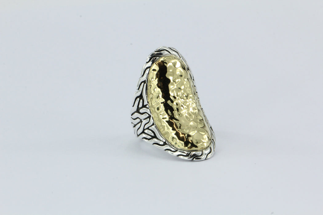 John Hardy 22K Gold & 925 Sterling Silver Palu Oval Saddle Ring - Queen May