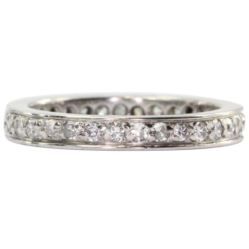 Antique Art Deco Platinum .75 CTW Diamond Eternity Band Ring Size 5.75
