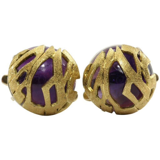 Antique 18K Gold Cabochon Amethyst Cufflinks - Queen May
