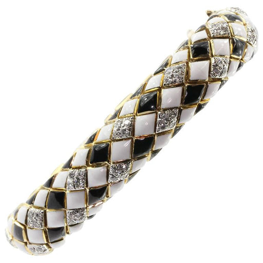 David Webb 18K Gold & Platinum Black & White Enamel & Diamond Flexible Bracelet