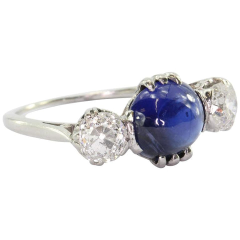 Antique Edwardian Platinum 3.18 Carat Blue Sapphire & Diamond Engagement Ring