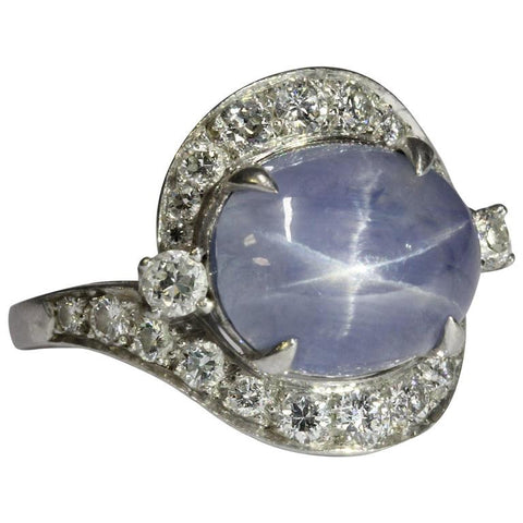 Antique Art Deco Platinum Diamond & 7.63 Carat Natural Blue Star Sapphire Ring
