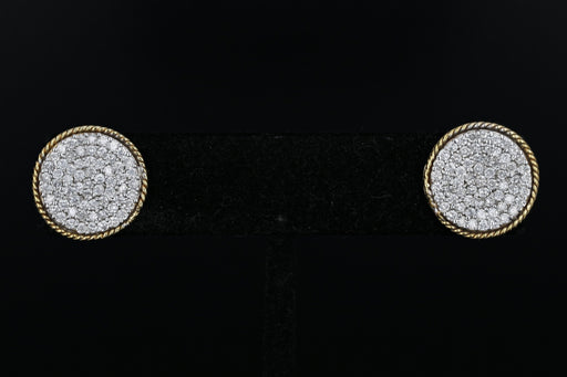 10K Yellow & White Gold 1.5 CTW Diamond Circle Earrings - Queen May