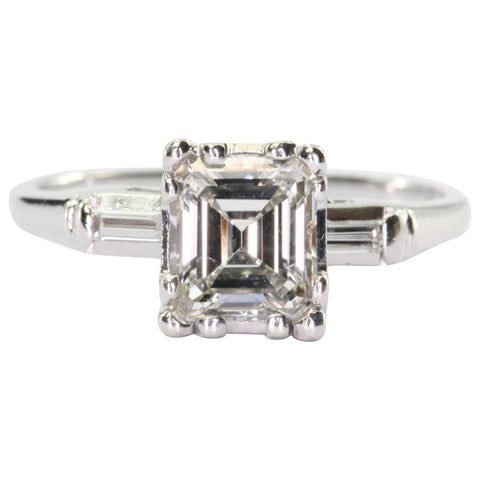 Antique Art Deco 14K White Gold 1 Carat Emerald Cut Diamond Engagement Ring