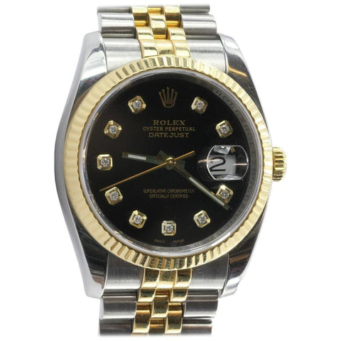 Rolex Oyster Perpetual Date Just 116233 Steel & 18K Gold Diamond Black Watch