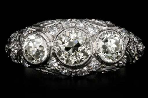 Art Deco Platinum Old European Cut Fancy Yellow 3 Stone Cluster Ring C.1920's - Queen May