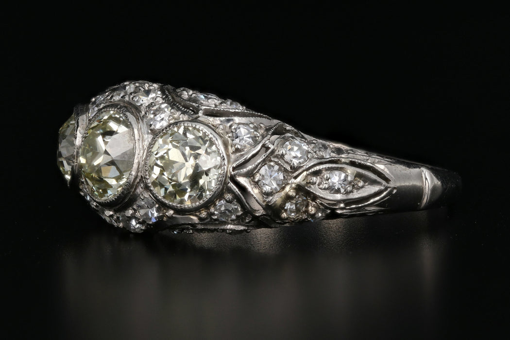 Art Deco Platinum Old European Cut Fancy Light Yellow 3 Stone Cluster Ring C.1920's - Queen May