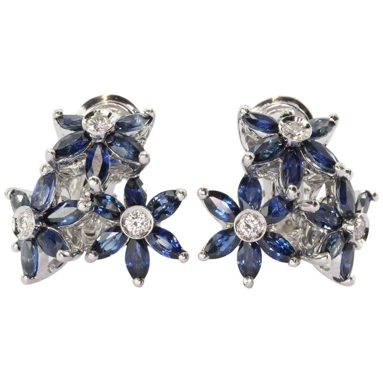 18K White Gold Sapphire & Diamond Triple Flower Earrings - Queen May