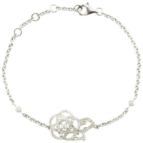 New CHANEL Camelia Brode 18K White Gold & Diamond Bracelet in Box