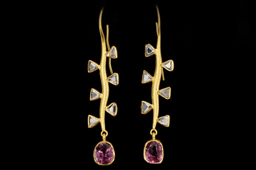 Modern 22K Yellow Gold Pink Spinel and Trillion Rose Cut Diamond Earrings - Queen May