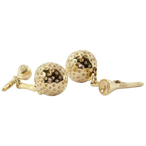 Retro 14K Gold Golf Ball & Tee Cufflinks - Queen May