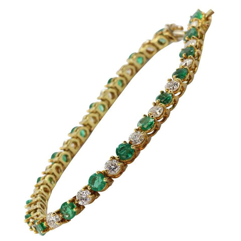 18K Gold Emerald Diamond Tennis Bracelet 7.25 Carats Total