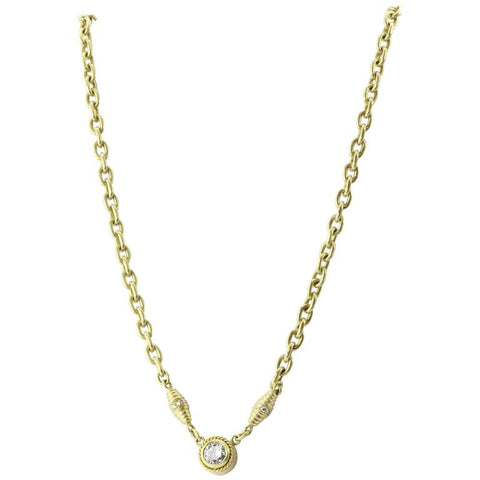 18K Satin Finished Gold 1 Carat Diamond Solitare Necklace