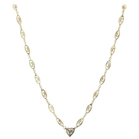 Victorian 14K Gold Chain 3/4 Carat Heart Cut Diamond Pendant