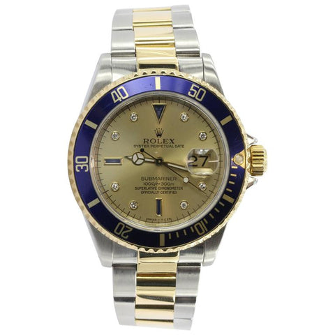 Rolex Submariner Chronometer 18K Gold and Stainless Steel Serti Diamond Dial Refrence 16613