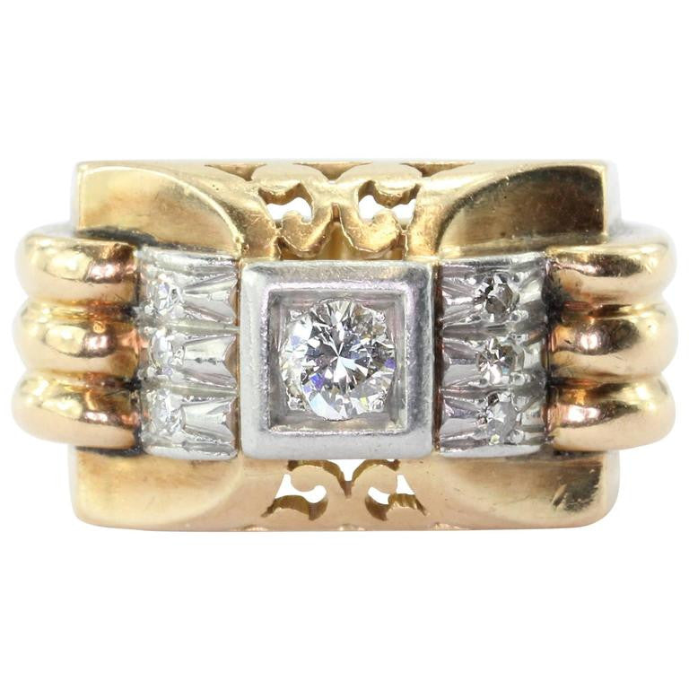 18K Gold Transition Cut Diamond in Platinum French Art Deco Tank Ring