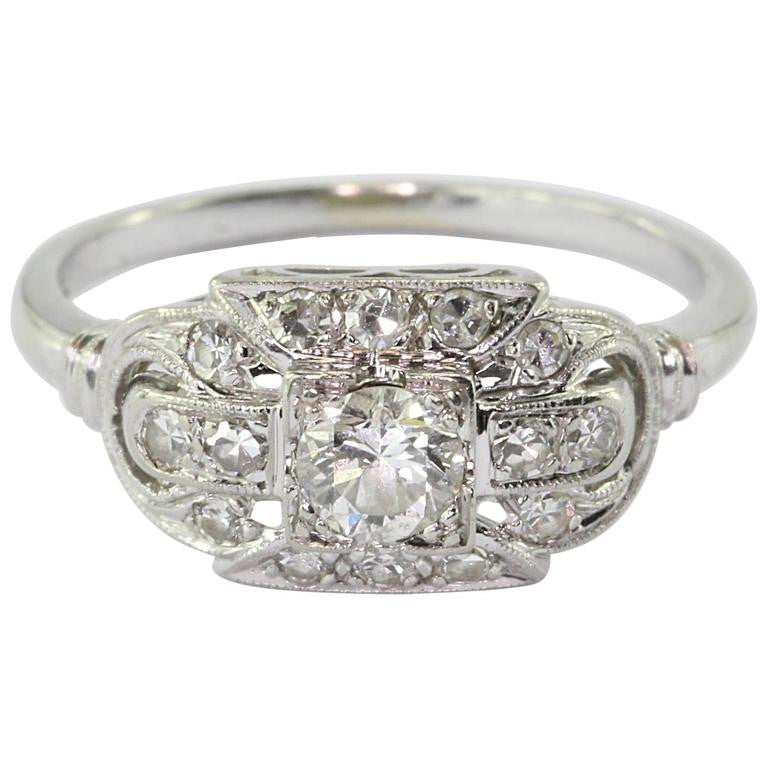 18K White Gold Transition Cut Diamond Art Deco Engagement Ring by JABEL - Queen May