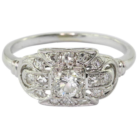 18K White Gold Transition Cut Diamond Art Deco Engagement Ring by JABEL