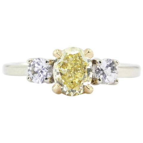 GIA 1.01 Fancy Intense Yellow Oval Cut Diamond Engagement 14K Gold Ring