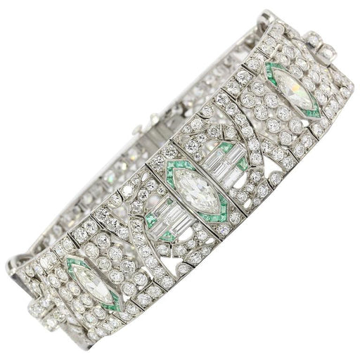 Art Deco Platinum 21 Carat Diamond & Emerald Bracelet c.1920's
