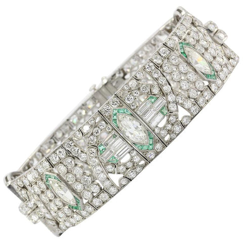 Circa 1920 Art Deco Platinum 21 Carat Diamond & Emerald Bracelet