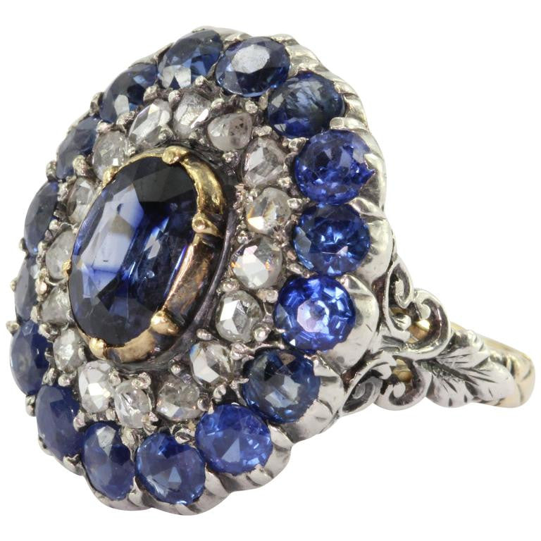 Georgian 18K Gold Silver Top Blue Sapphire Rose Cut Diamond Ring - Queen May