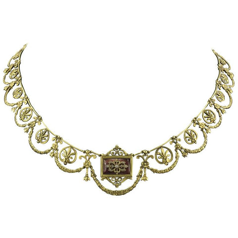 French 2nd Empire 18K Gold Diamond Enamel Necklace in Case C.1860