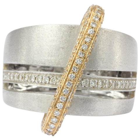 Alfieri & St. John 18K Burnished White & Rose Gold Diamond Ring
