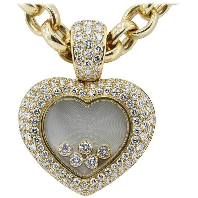 Chopard 18k gold happy diamonds heart pendant chain queen may chopard 18k gold happy diamonds heart pendant chain aloadofball