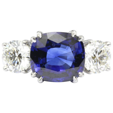 Natural AGL Intense Blue Sapphire and 2 Carat Diamond Ring