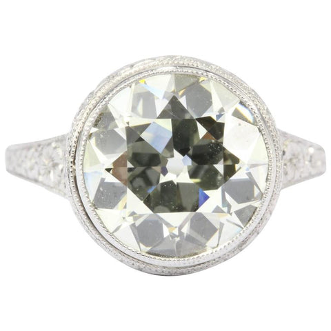 Circa 1915 Edwardian Platinum 3.57 Carat Old European Diamond Engagement Ring c.1915