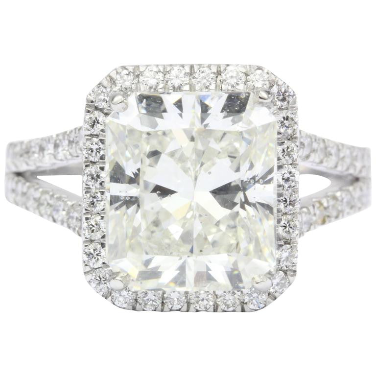 5.05 Carat Rectangular Diamond Platinum Engagement Ring - Queen May