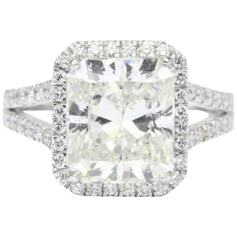 5.05 Carat Rectangular Diamond Platinum Engagement Ring