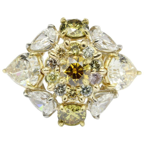 Fancy Yellow & White Diamond 18K Gold & Platinum 5CTW Ring