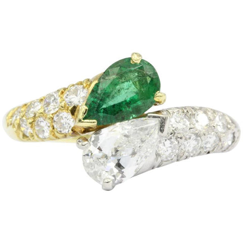 Retro Cartier 18k Gold & Platinum Diamond & Emerald Ring