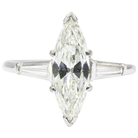 Platinum 1.5 Carat Marquise Engagement Ring 1.7 CTW