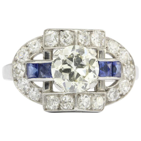 Art Deco Platinum .93ct Old European Diamond & Sapphire Ring 1.79 CTW