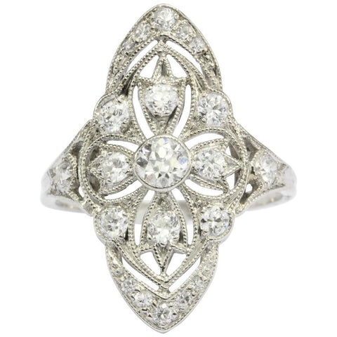 Art Deco Platinum Filigree Old European Cut Diamond Ring