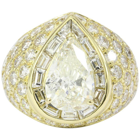 Modern 18K Yellow Gold 3.51 Carat Pear Shaped Diamond Ring GIA Certified