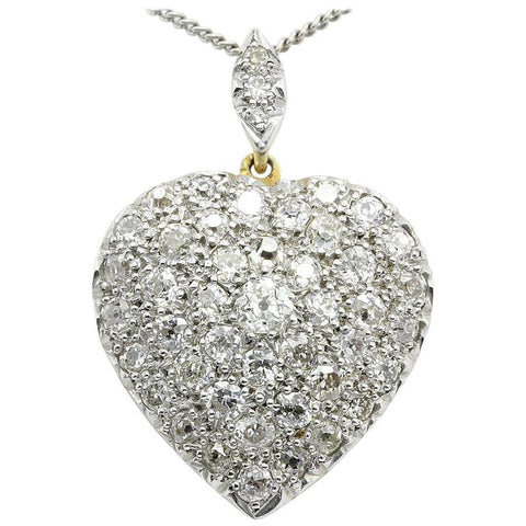 Edwardian 18K Gold and Platinum Top Old European Cut Diamond Heart Pendant 24mm