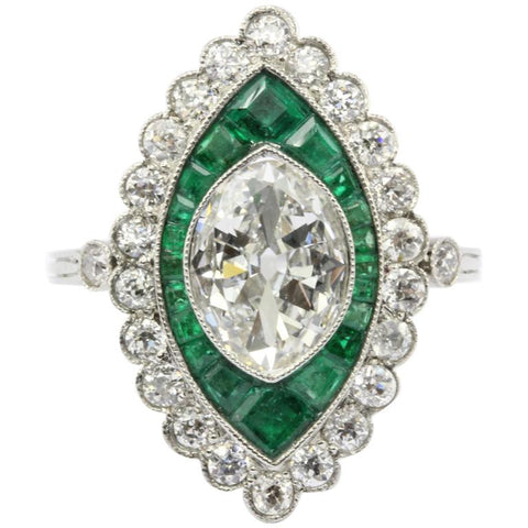 Edwardian Platinum 1.05 Carat Moval Diamond & Emerald Halo Engagement Ring