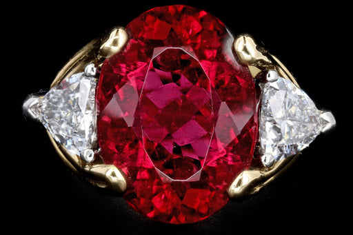 Modern Platinum & 18K Yellow Gold 7.54 Carat Rubellite Tourmaline Ring - Queen May