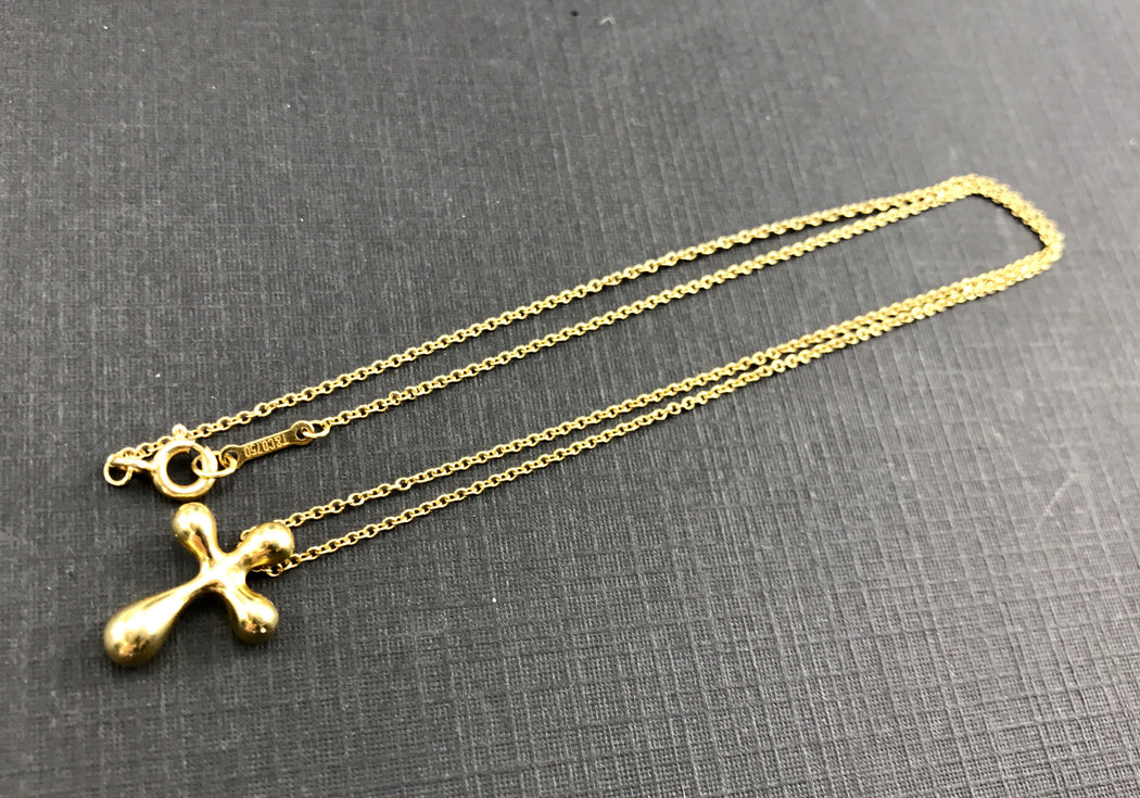 Tiffany & Co 18K Elsa Peretti Small Cross Pendant Necklace - Queen May