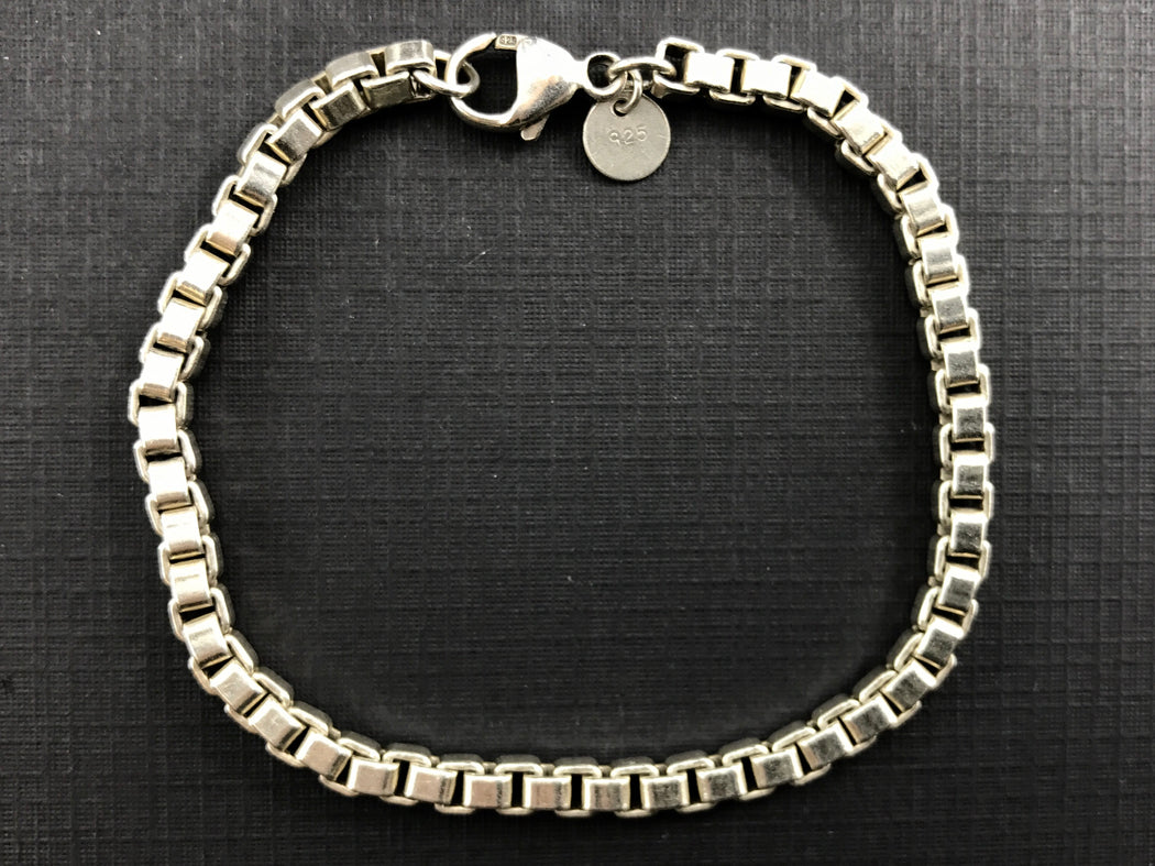 "Tiffany & Co Sterling Silver Venetian Link Bracelet 4mm 7.75"" - Queen May"
