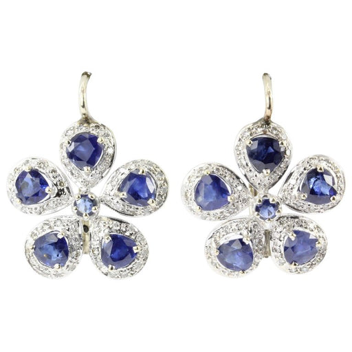 Retro 18K White & Yellow Gold Natural Blue Sapphire & Diamond Earrings - Queen May