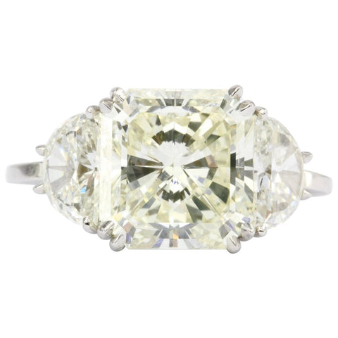 6.35 Carat Radiant Diamond in Platinum Mounting w/ 2 Half Moons Engagement Ring