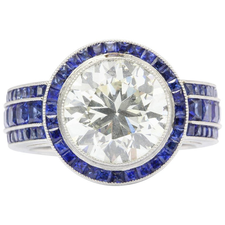 4.03 Carat Diamond w/ 2 carats of Sapphires Platinum Engagement Ring - Queen May