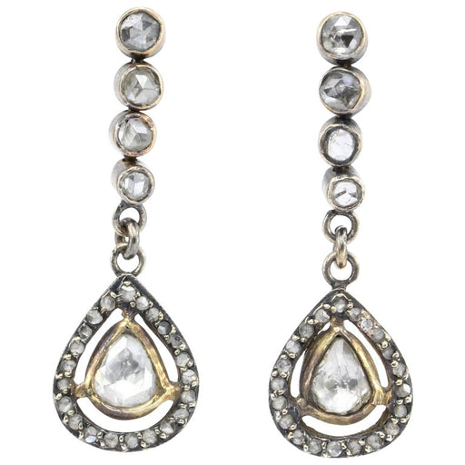 Victorian 10K Rose Gold Rose Cut Diamond Drop Earrings c.1890 - Queen May